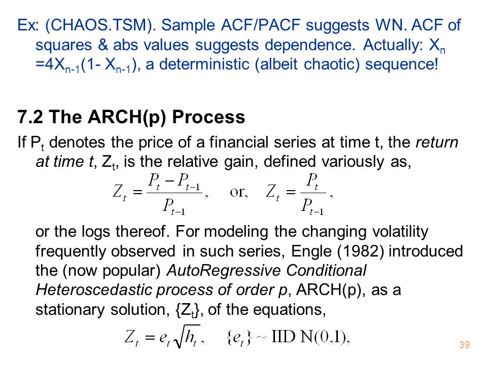 Ex: (CHAOS. TSM). Sample ACF/PACF suggests WN