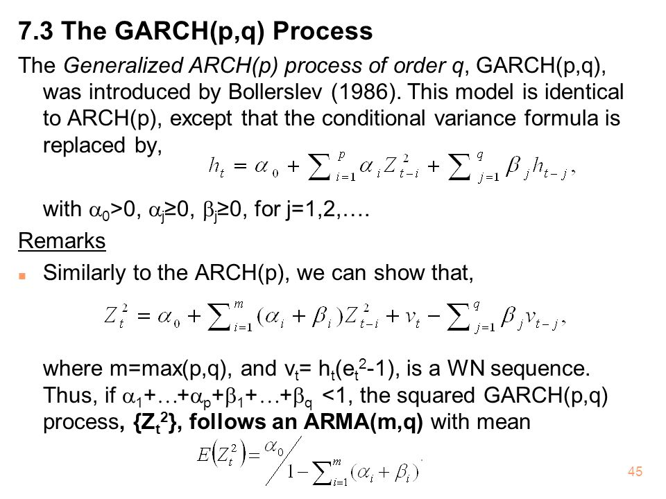 7.3 The GARCH(p,q) Process