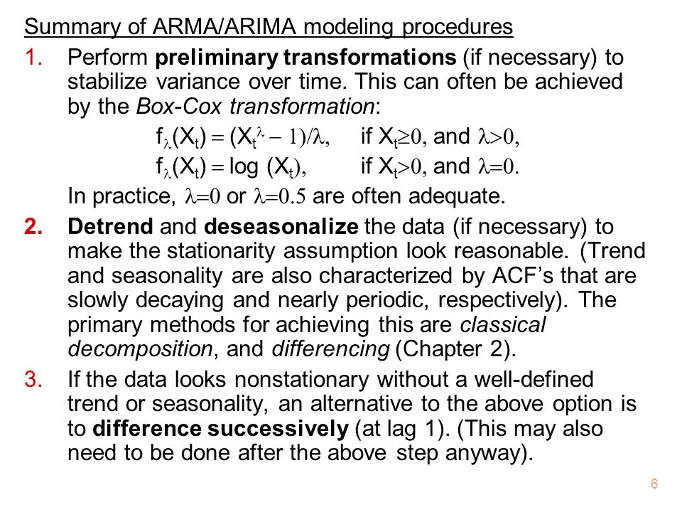 Summary of ARMA/ARIMA modeling procedures