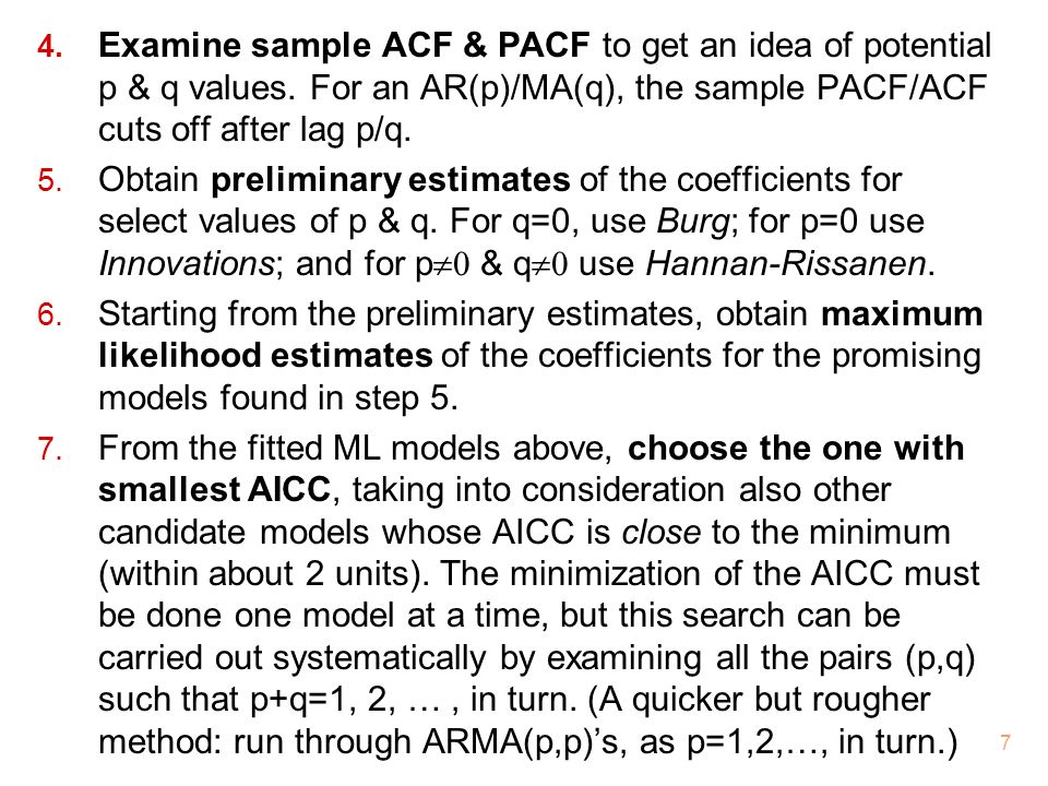 Examine sample ACF & PACF to get an idea of potential p & q values