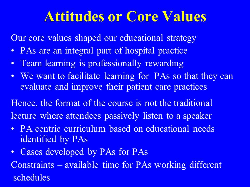 Attitudes or Core Values