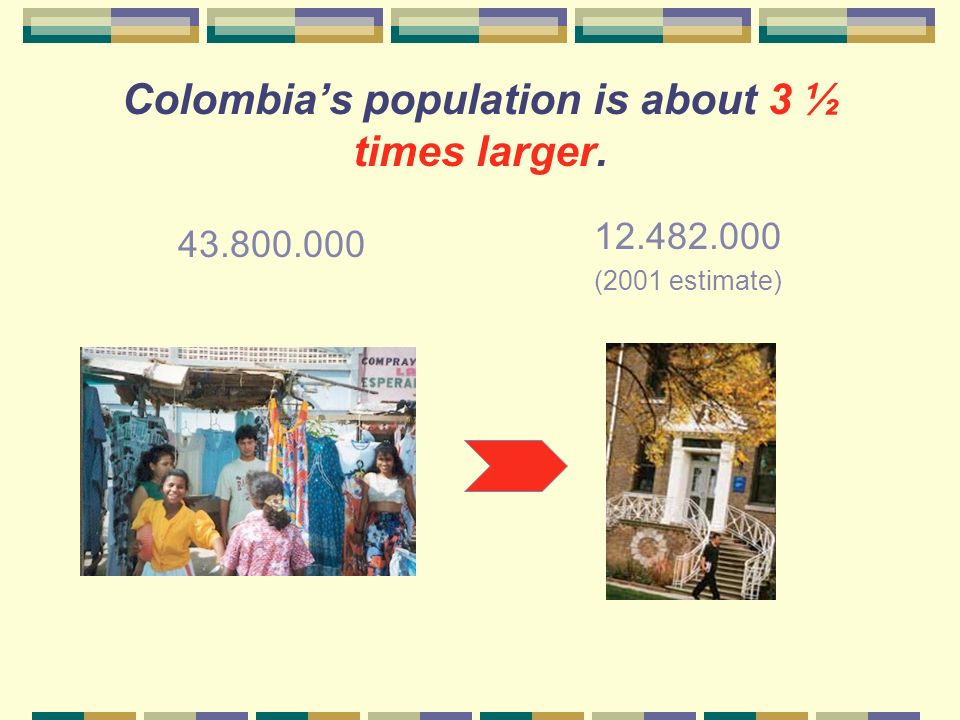 Colombia's population is about 3 ½ times larger.