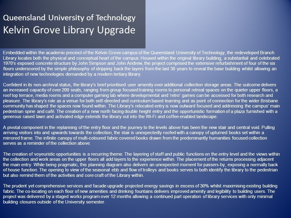 Queensland University of Technology Kelvin Grove Library Upgrade