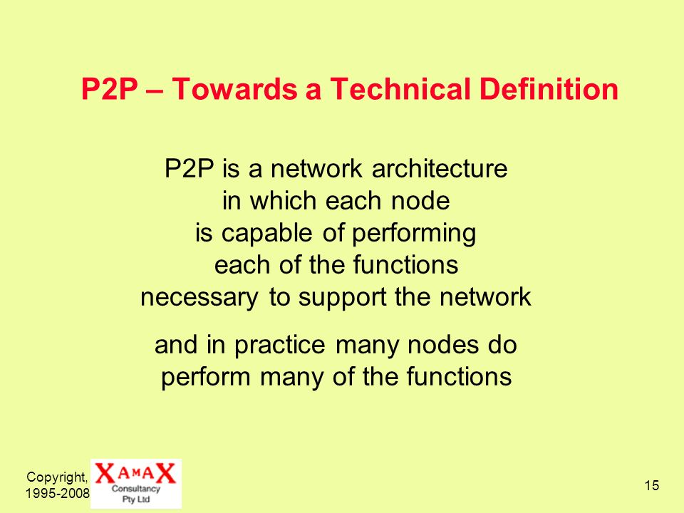 P2P – Towards a Technical Definition