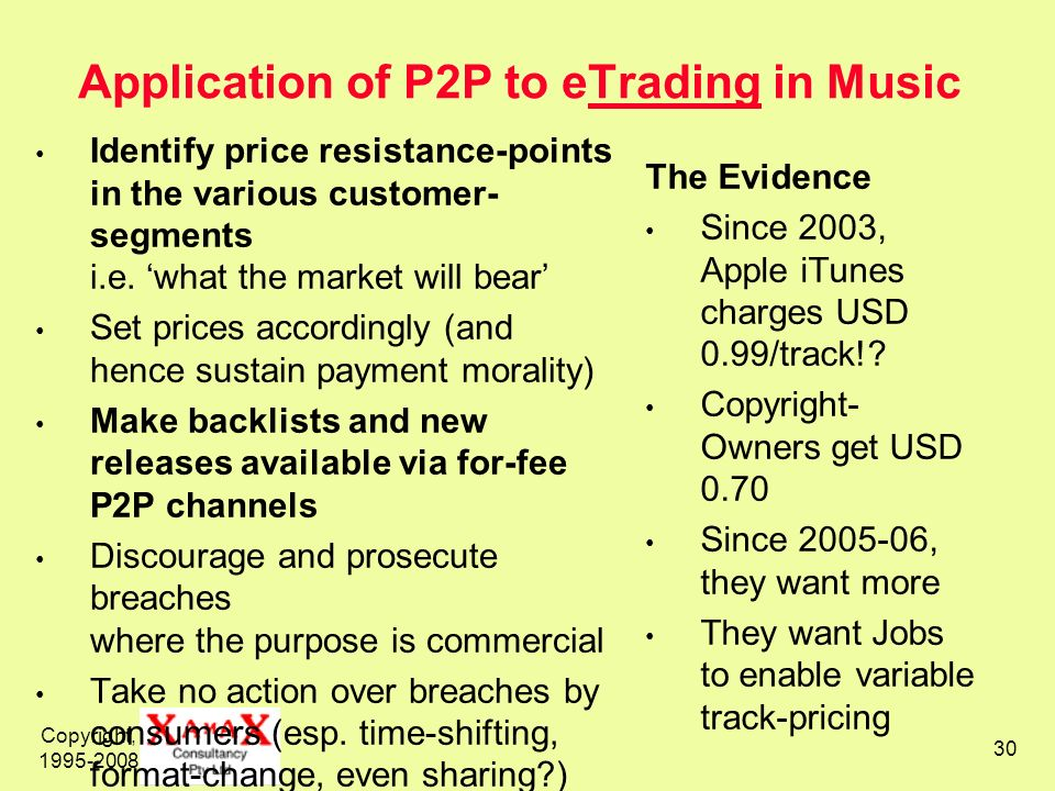 Application of P2P to eTrading in Music
