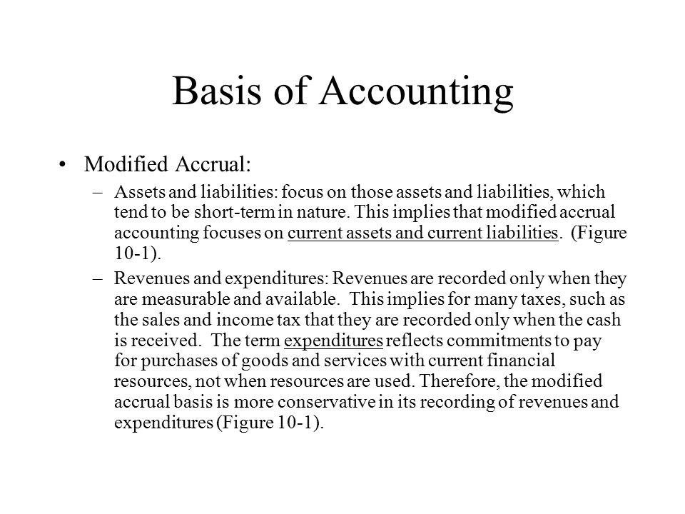 accruals vs modified accruals The accrual ratio is a way to identify firms with low non-cash or accrual-derived earnings relative to their cash flow the formula is (net income - free cash flow), divided by total assets.