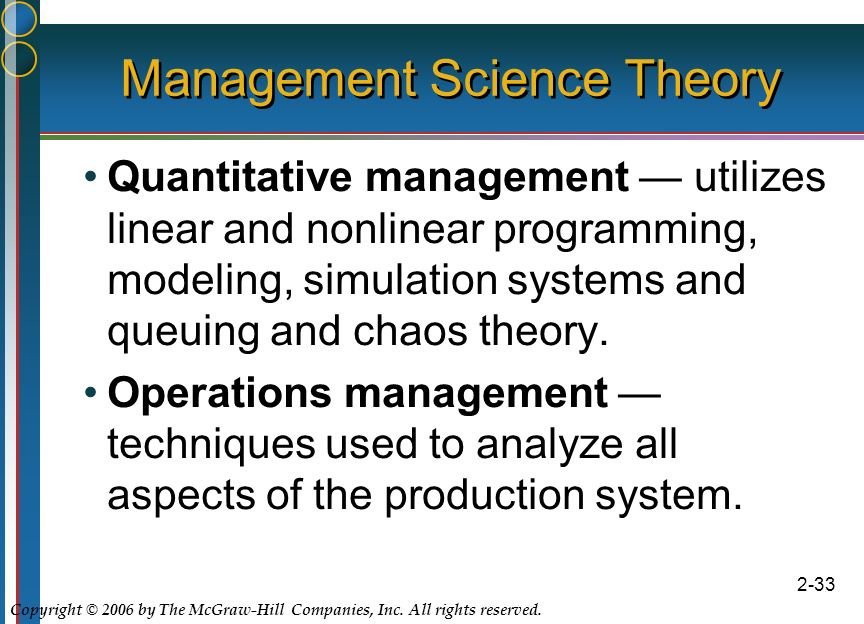 evolution of management thought quantitative According to education portal, quantitative management theory is a management system which relies on data, models and statistics a modern theory which took root after wwii, qmt synthesizes the fields of management information systems, management science, operations management and systems management.