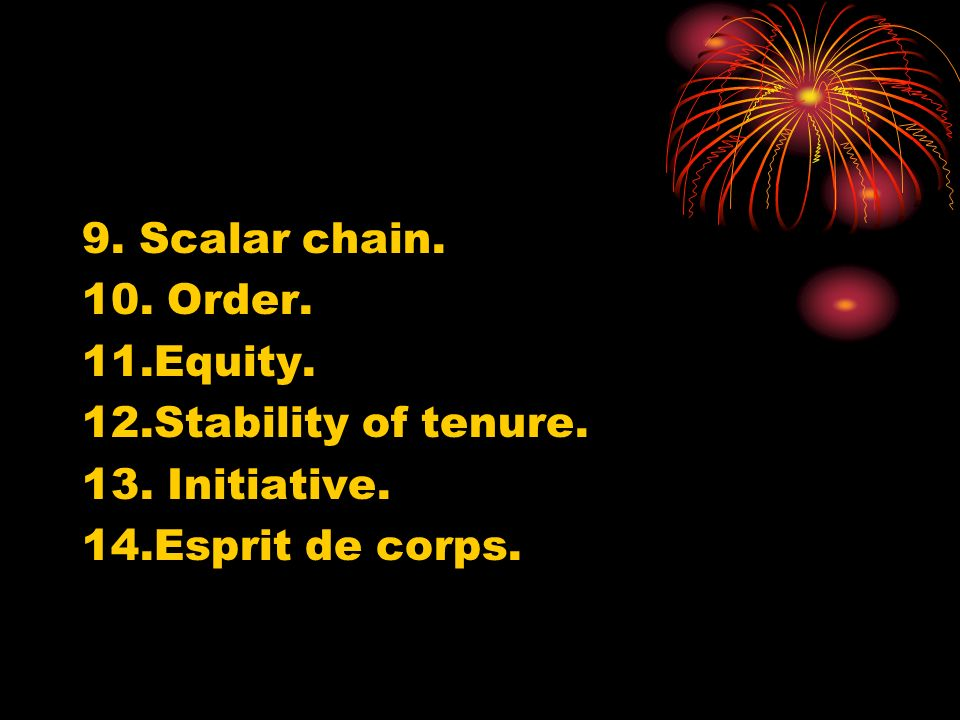 9. Scalar chain. 10. Order. 11.Equity. 12.Stability of tenure. 13. Initiative. 14.Esprit de corps.