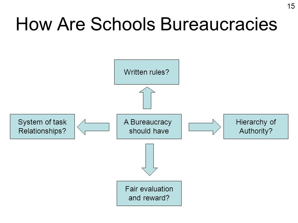 schools bureaucratic organizations In 1993, 47% of us private sector employees worked in organizations with more than 500 individuals on the payroll twenty years later, that number had grown to 516% large organizations, those with more than 5,000 employees, increased their employment share the most—from 294% to 334%.
