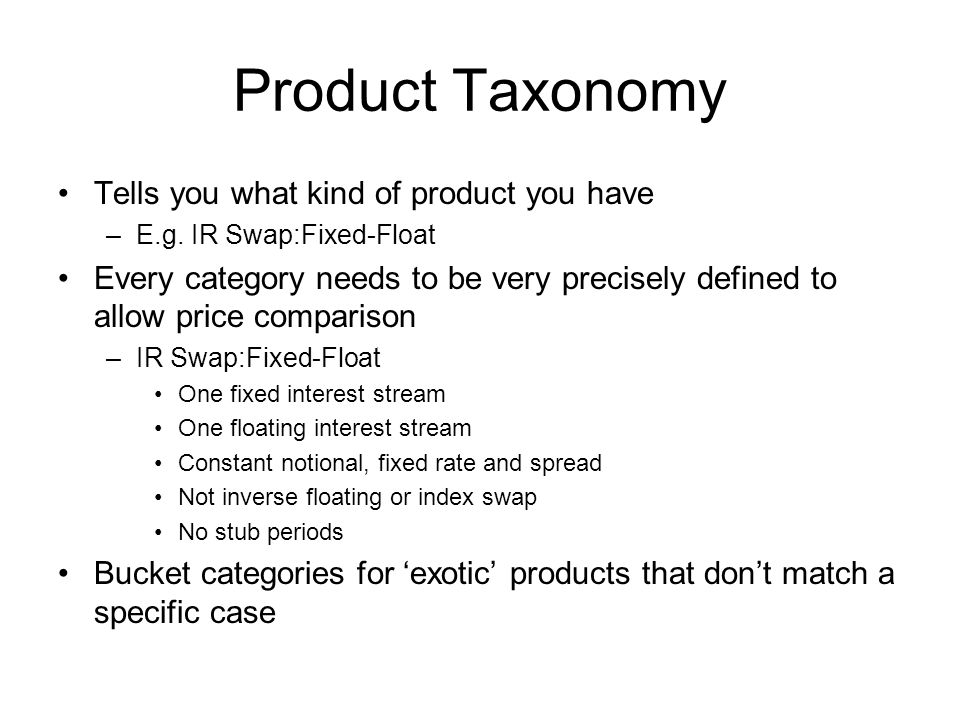 Product Taxonomy Tells you what kind of product you have