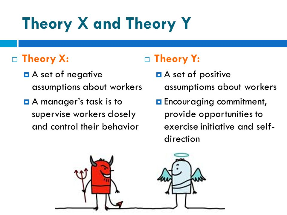 Theory X and Theory Y Theory X: Theory Y:
