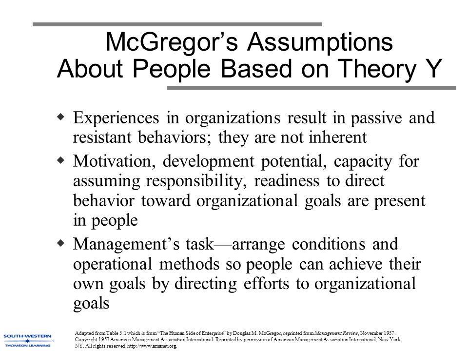 a summary of douglas m mcgregors theory on management and motivation Theory x and theory y are theories of human work motivation and management they were created by douglas mcgregor while he was working at the mit sloan school of management in the 1950s, and developed further in the 1960s mcgregor's work was rooted in motivation theory alongside the works of abraham maslow, who created the hierarchy of needs.