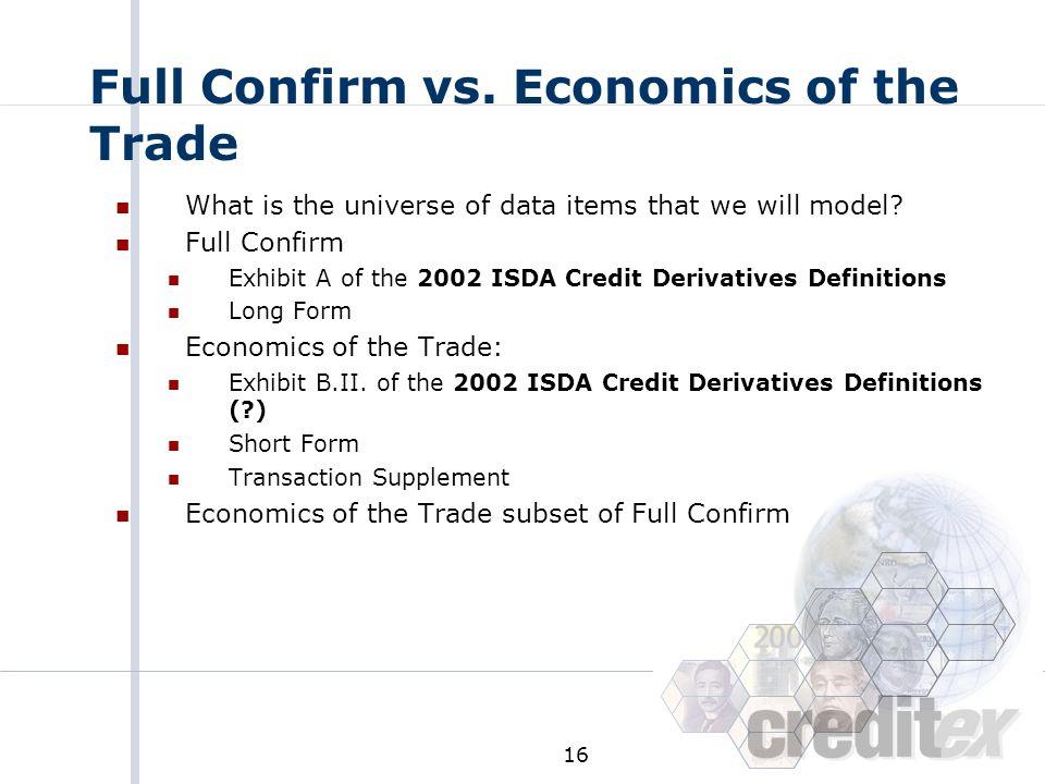 Full Confirm vs. Economics of the Trade