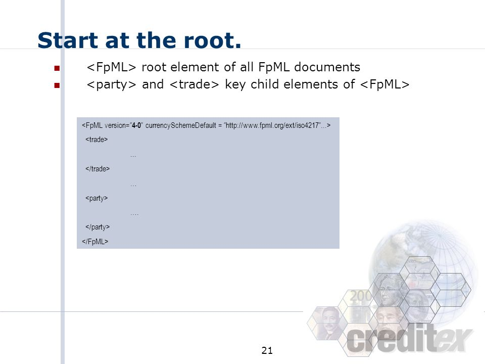 Start at the root. <FpML> root element of all FpML documents