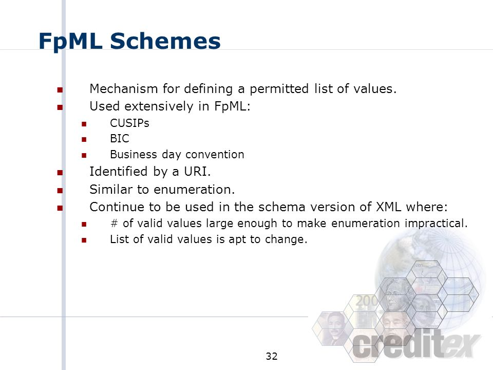 FpML Schemes Mechanism for defining a permitted list of values.