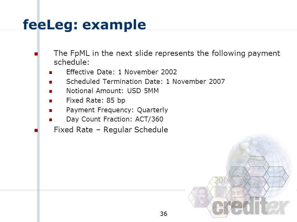 feeLeg: example The FpML in the next slide represents the following payment schedule: Effective Date: 1 November 2002.