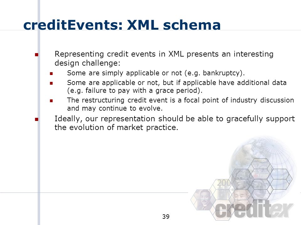 creditEvents: XML schema