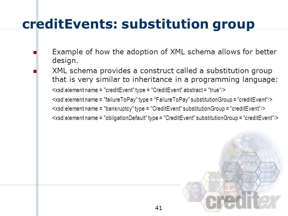 creditEvents: substitution group