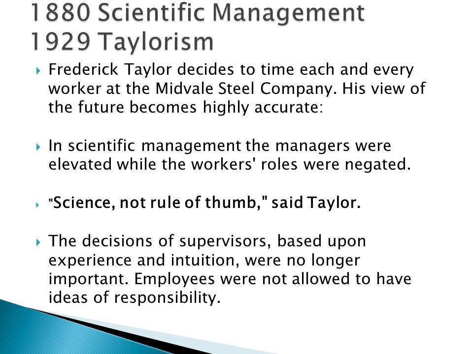 1880 Scientific Management 1929 Taylorism