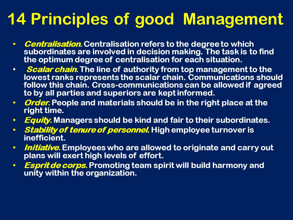 14 Principles of good Management