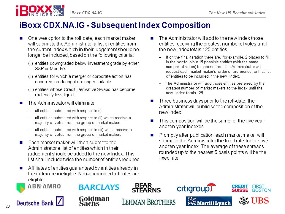 iBoxx CDX.NA.IG - Subsequent Index Composition