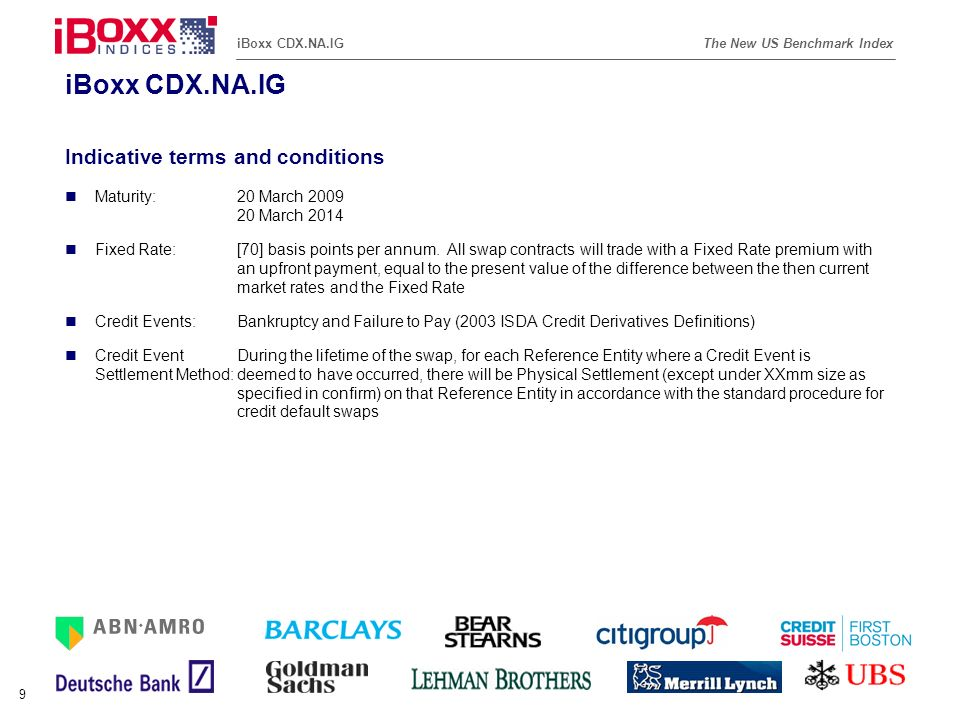 iBoxx CDX.NA.IG Indicative terms and conditions