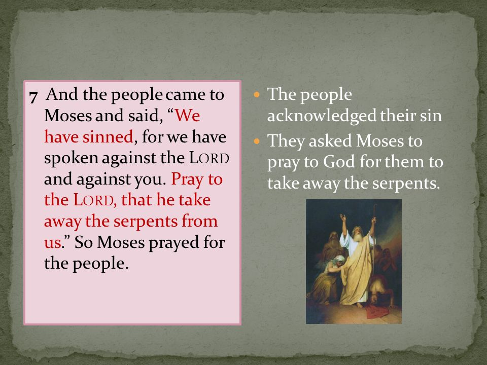 7 And the people came to Moses and said, We have sinned, for we have spoken against the Lord and against you. Pray to the Lord, that he take away the serpents from us. So Moses prayed for the people.