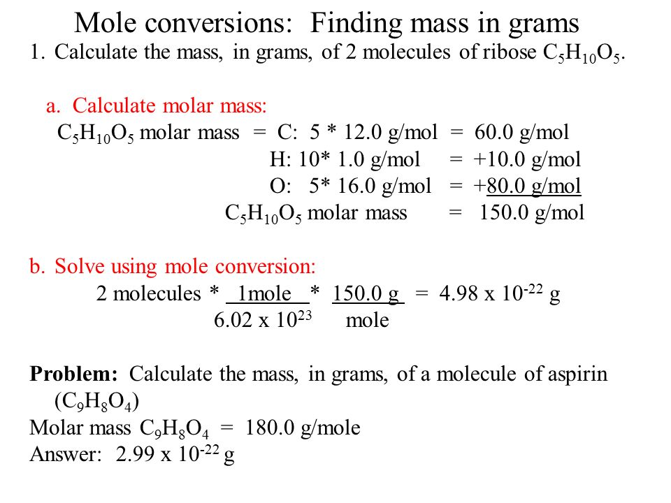 how to find moles grams