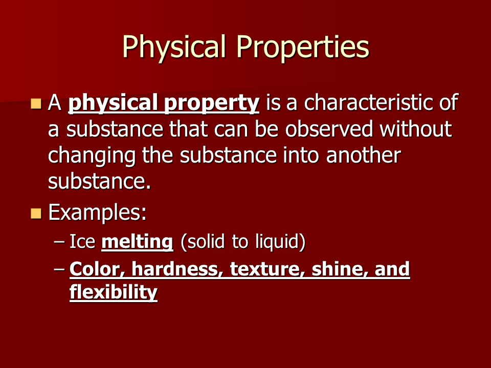 Physical Properties Examples List