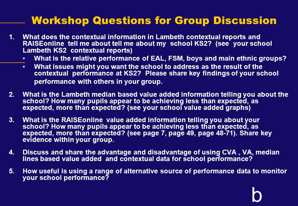 Workshop Questions for Group Discussion