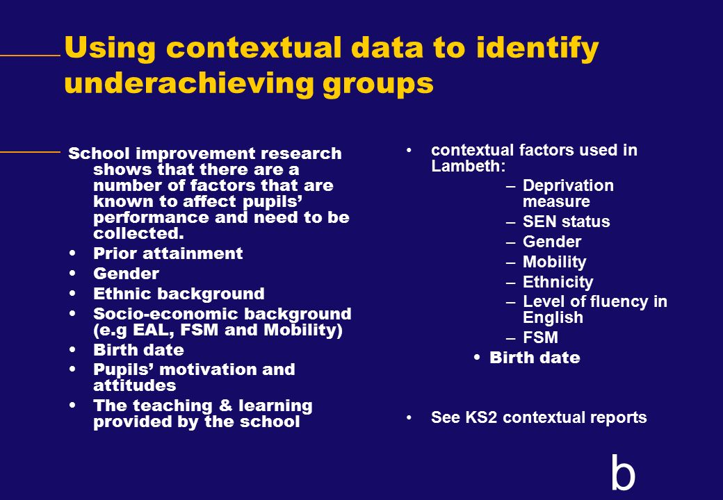 Using contextual data to identify underachieving groups