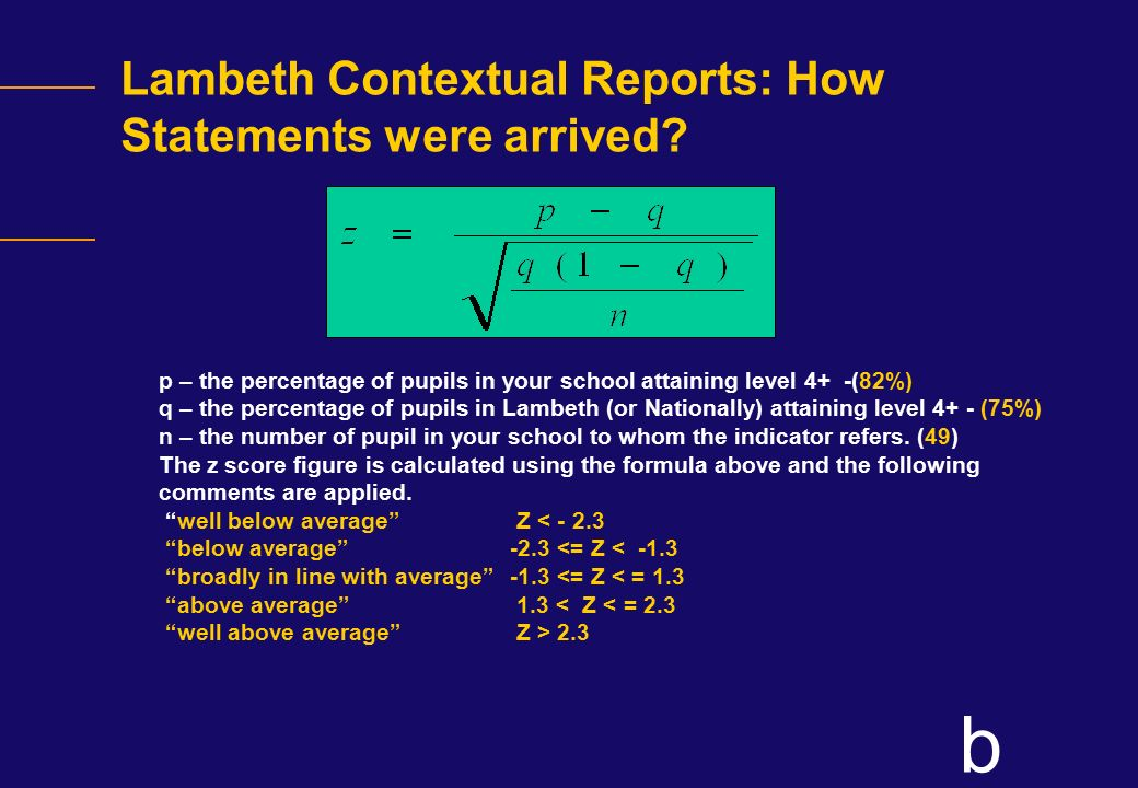 Lambeth Contextual Reports: How Statements were arrived