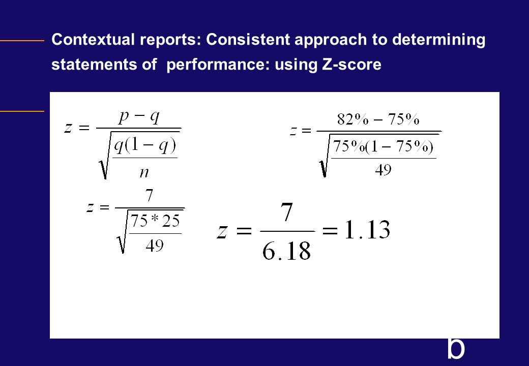 Contextual reports: Consistent approach to determining statements of performance: using Z-score