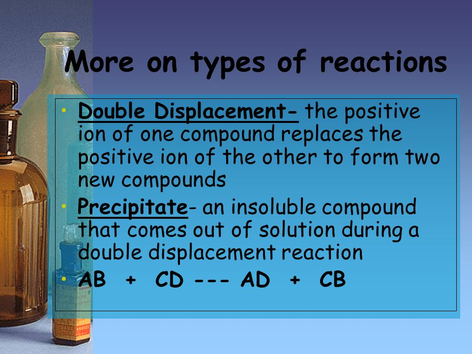 More on types of reactions