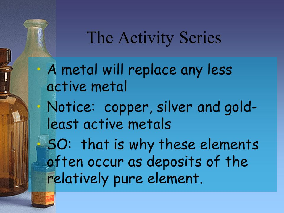 The Activity Series A metal will replace any less active metal