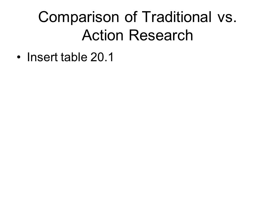 traditional research vs action research What is the difference between traditional research and participatory action research what is traditional research edit share to: answered in psychology what are differences between action research and fundamental research.