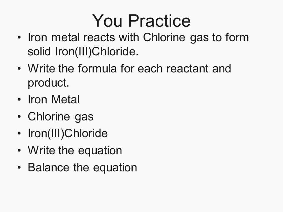 Chlorine reacts with water write a balanced equation for another decomposition