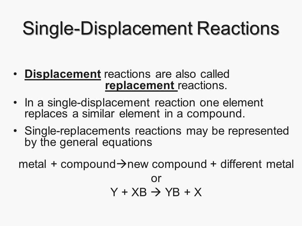 displacement reactions Introduction: a double displacement reactionor metathesisreaction involves the reaction of two compounds to form two new compounds in effect, the compounds change.