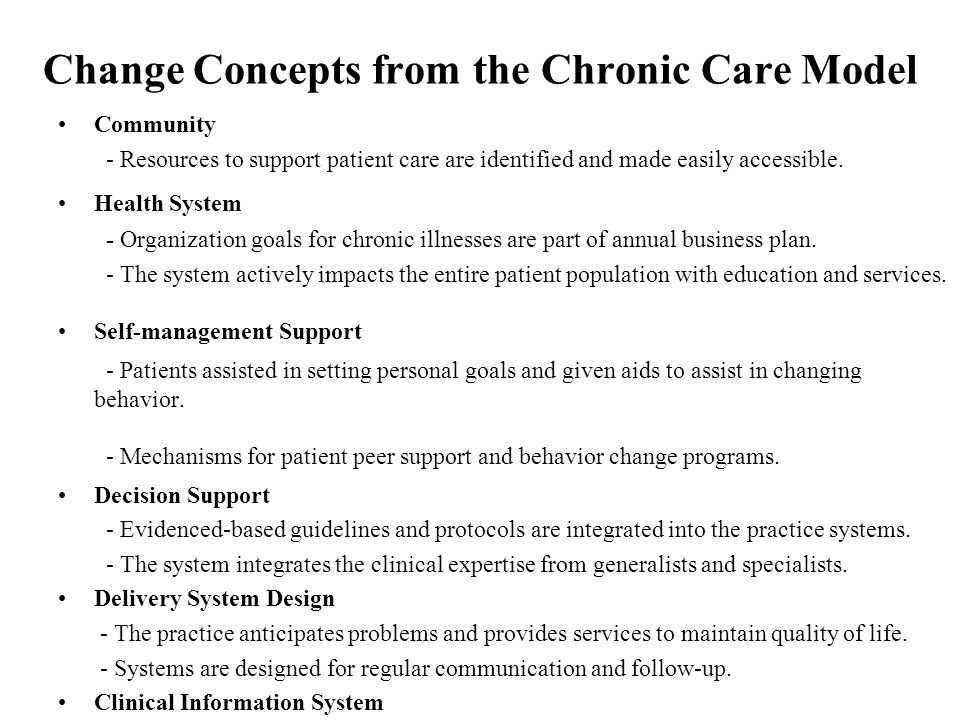 Change Concepts from the Chronic Care Model