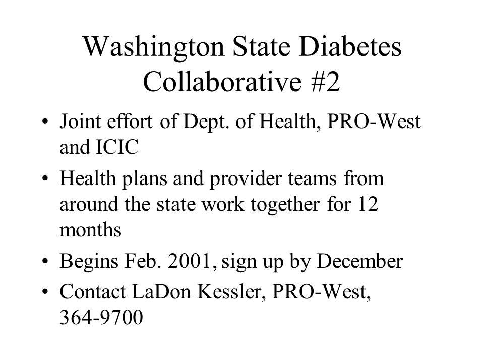 Washington State Diabetes Collaborative #2