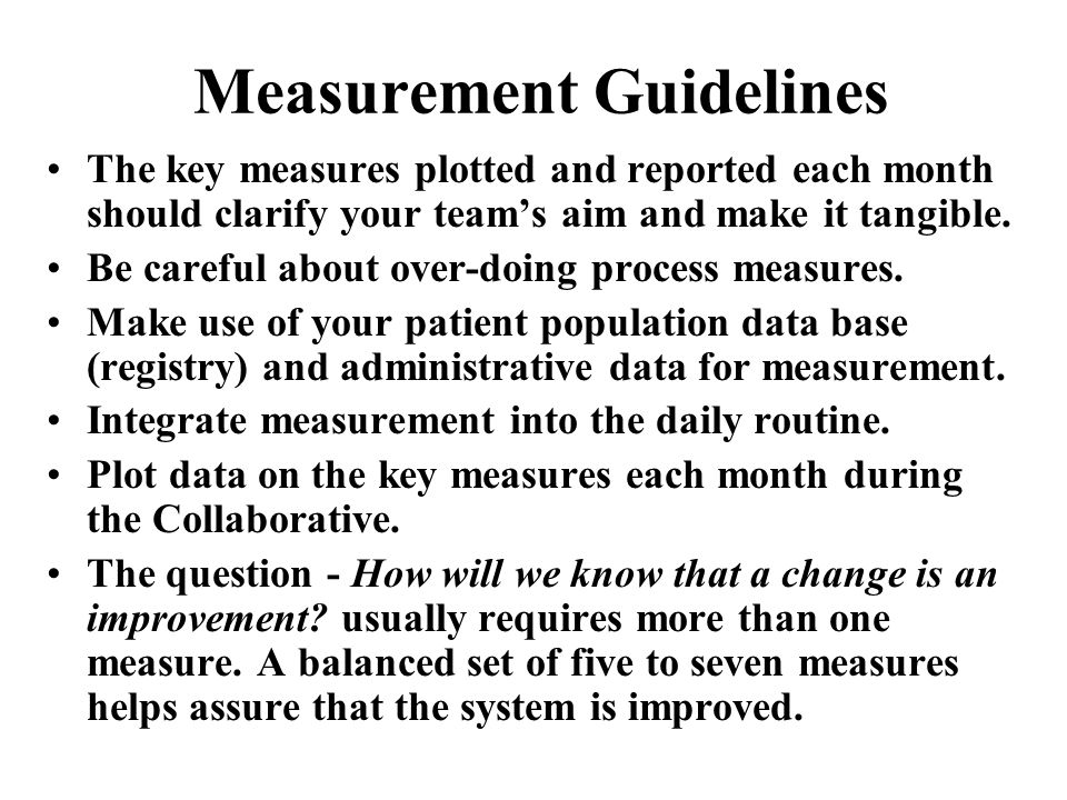 Measurement Guidelines