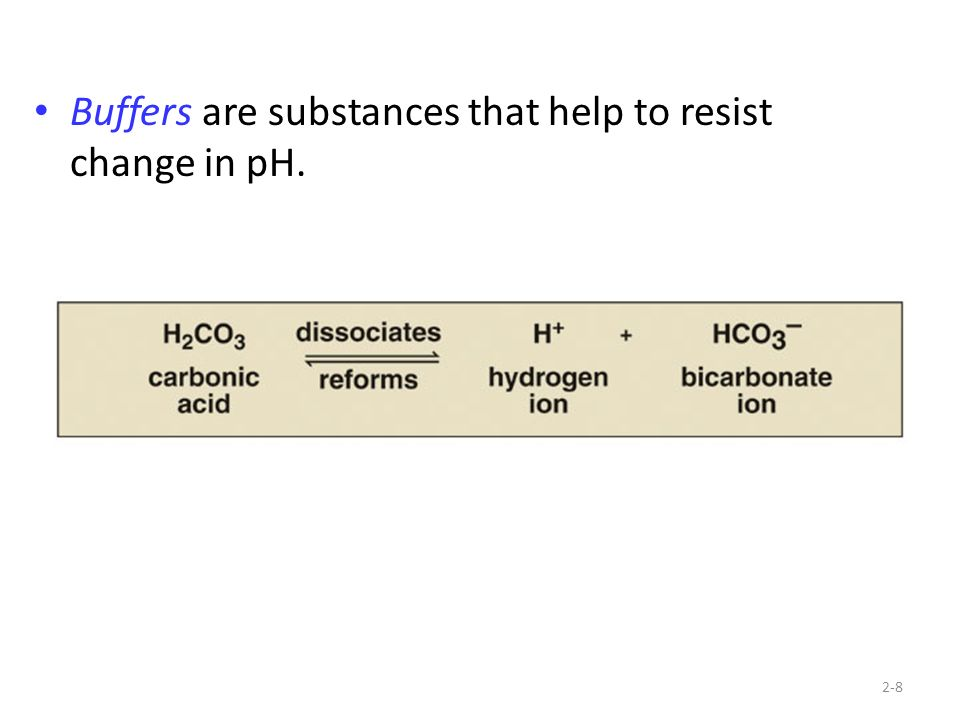 Buffers are substances that help to resist change in pH.