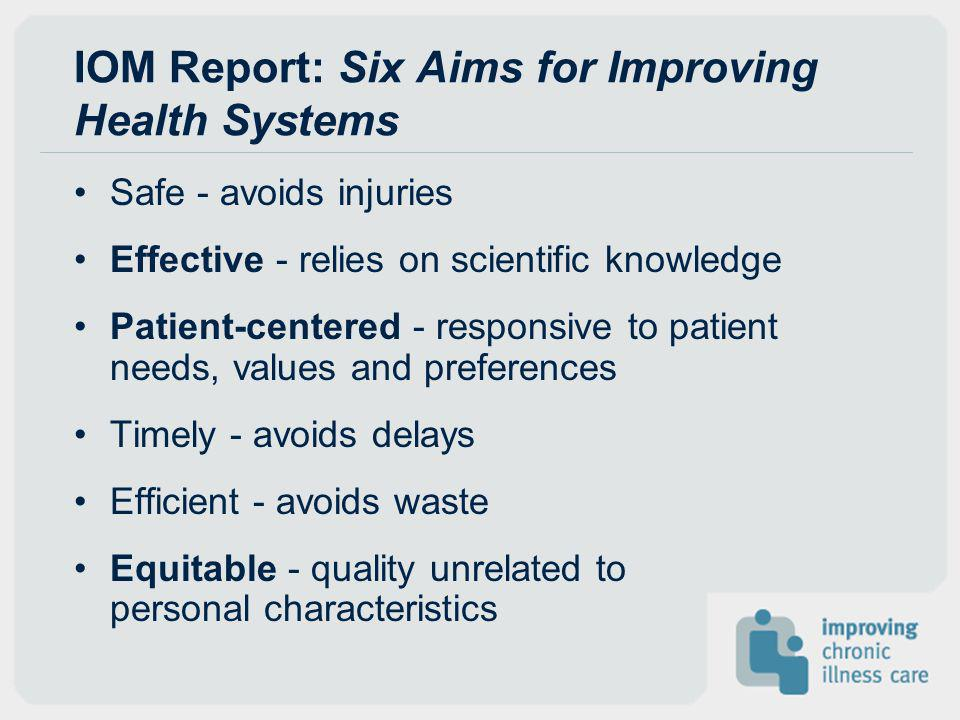 IOM Report: Six Aims for Improving Health Systems