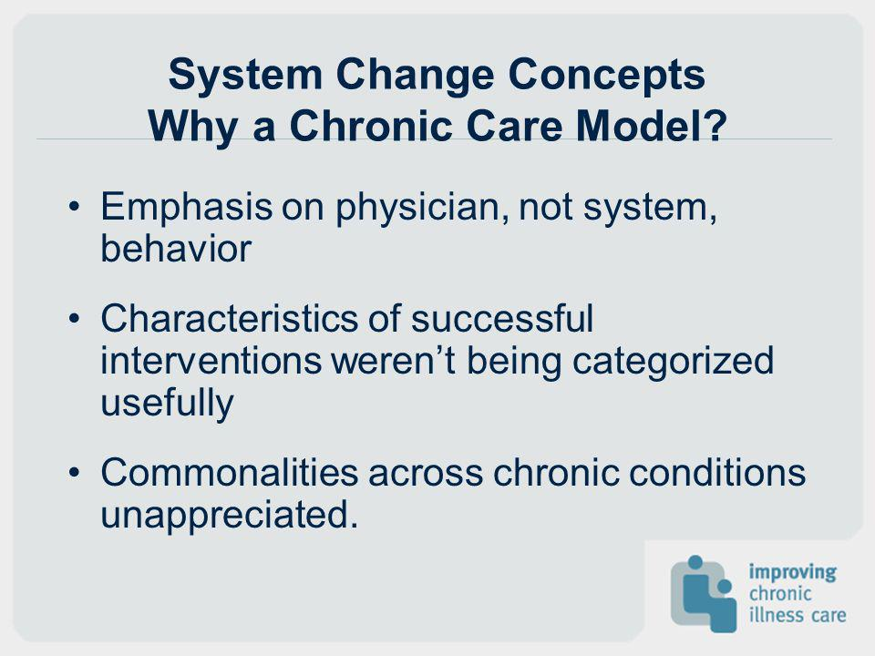 System Change Concepts Why a Chronic Care Model
