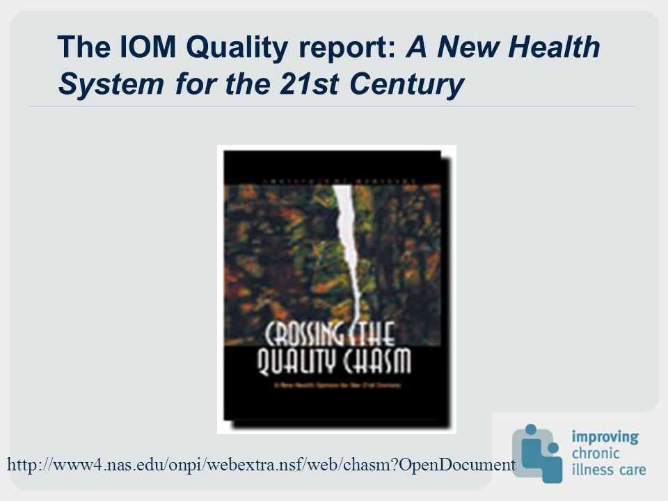 The IOM Quality report: A New Health System for the 21st Century
