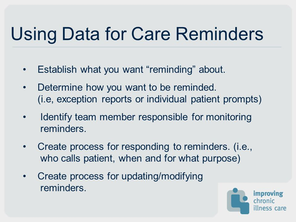 Using Data for Care Reminders