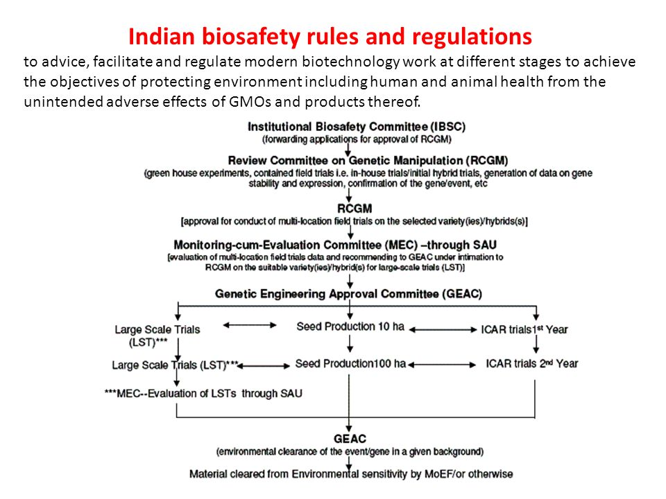 biosafety regulation in india the way Biosafety finalized and adopted in montreal on 29012000 came into force as a legal binding, after 90 days once 50 countries ratified, ie on 11th sept, 2003  • recommend suitable and appropriate safety regulations for india in r-dna research, use and applications 23.