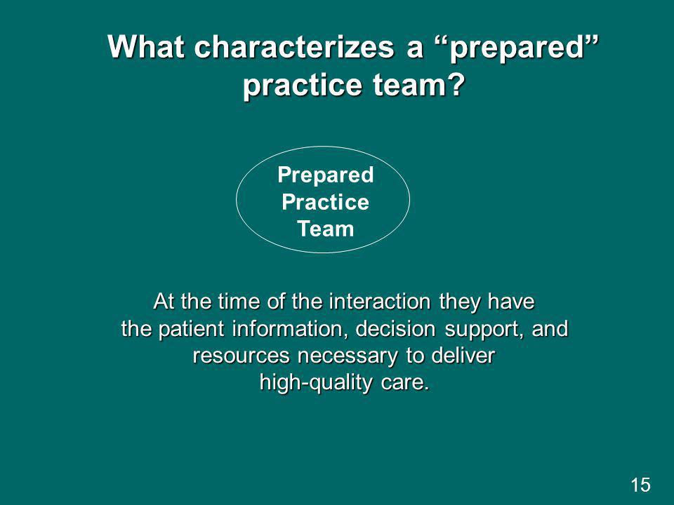 What characterizes a prepared practice team