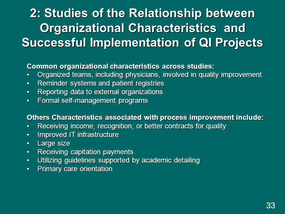 2: Studies of the Relationship between Organizational Characteristics and Successful Implementation of QI Projects