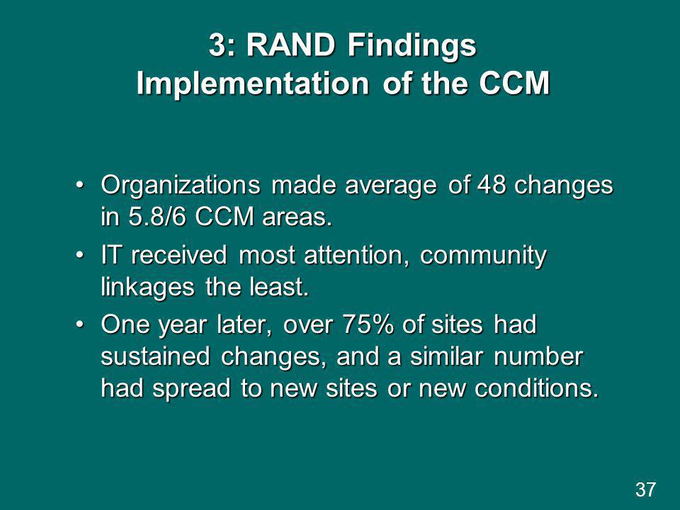 3: RAND Findings Implementation of the CCM